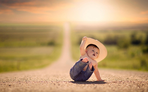 шляпа, боке, простор, дорога, мальчик, падение, джинсы
