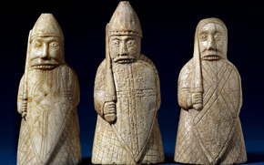 and, board, century., chess, from, Miniature, Chess, figures, It, SPACE, Art, figures, Ivory, CHESS, on, this, With, cut, BONE, ancients, sculpture