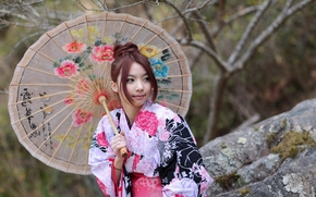 Asiático, atuendo, paraguas, chica, estilo