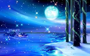 night, Art, Pillars, lake, liana, landscape, water, building