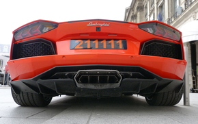 Lamborghini, exhaust pipe, orange, Aventador, Lamborghini, zadok