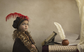 notebook, feather, manuscript, girl