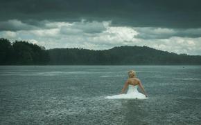 sposa, pioggia, lago, del tempo