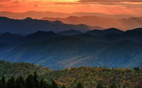 日落, 秋, 森林, 山