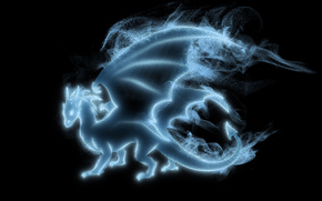 Horns, wings, black background, dragon