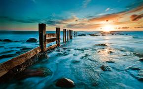 rise, sea, beach, stones