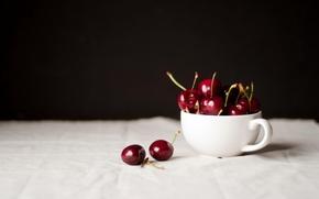 белая, вишня, черешня, стол, ягоды, чашка