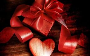 fiesta, corazón, Valentine, regalo, cinta