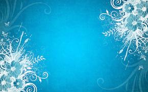 голубой  фон, бабочки, цветы