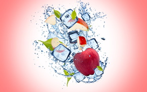 apple, water, ice, background, drops