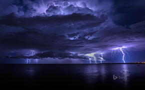 sky, storm, lights, night, sea, lightning, clouds, CLOUDS