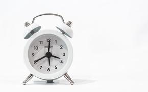 цифры, стрелки, будильник, циферблат, часы, фон, белый