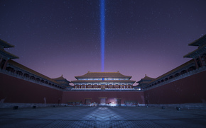 sky, night, Forbidden City, lilac, Purple, Peking, China, palace complex, Star