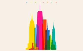 радуга, краски, масштаб, дома, город, цвет, Нью-Йорк