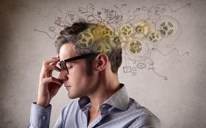 профиль, мужчина, шестерёнки, очки, мысли