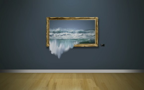 wall, picture, waves