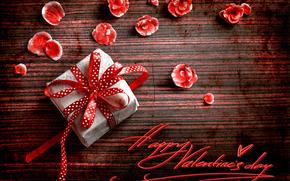 лепестки, праздник, подарок, надпись, День Святого Валентина