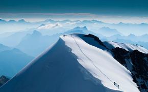 montagna, arrampicata, superiore, nevicata