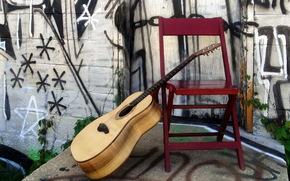 guitar, Music, chair