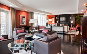 silla, cortinas., habitación, ventanas, salón, sofá, TV, tabla