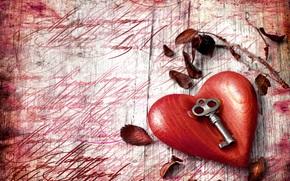 vacanza, Valentine, fogliame, Chiave, cuore