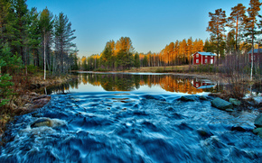 forest, FLOW, morning, river, red, houses, movement