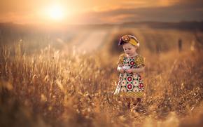 sun, girl, dress, bokeh, field, SPACE, distance