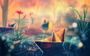 flower, rain, Paper ship, grass, Art