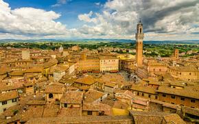 здания, Тоскана, Италия, панорама, Сиена, крыши