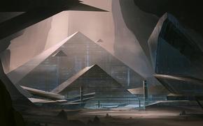 Rocks, people, pyramids, Art, fantasy world