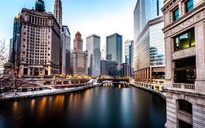 Rascacielos, invierno, América, río, Chicago, tarde, edificio