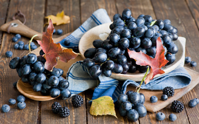 uva, rosso, blackberry, ancora vita, autunno, raccolto, fogliame, BERRY, mirtilli