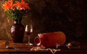 guardare, Gigli, ancora vita, Bicchiere di vino, perla