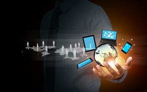 de alta tecnología, Internet, redes sociales, globo