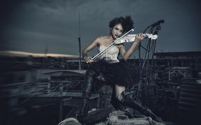 Asian, violin, Music, girl