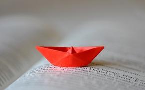 лодка, широкоформатные, фон, размытие, широкоэкранные, книга, полноэкранные, надпись, оригами, красный, обои, настроения, бумажный кораблик