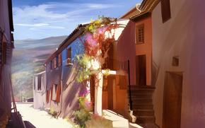 солнечно, дома, городок, Португалия, арт, улица