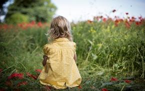 Hintergrund, Widescreen, Vollbild, Grüns, Kinder, Babe, Feld, Mood, Baby, Baby, Natur, Röschen. rot, wallpaper, Widescreen, Mädchen, Gras, Babes, Blumen, kleiden, Erbsen