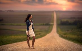 боке, ожидание, босая девушка, платье, простор, дорога