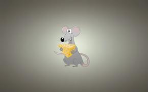 light background, cheese, rat, mouse, minimalism