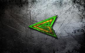 STRUTTURA, sfondo, Gratta, centro, metallo, combattimento., Green Arrow, smeraldo, punta, acciaio