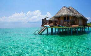 sky, landscape, recreation, lagoon, cabin, bungalow, paradise, piling, clouds, sea