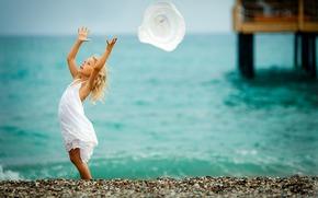 viento, mar, arena, chica, naturaleza