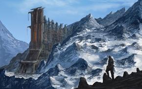 здание, скалы, фантастика, человек, арт, горы, снег