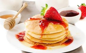 еда, блины, клубника, мед, красная, оладьи, мёд, джем, ягода, блинчики