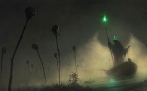 light, Green, carrier, staff, fog, Skull, boat, hood