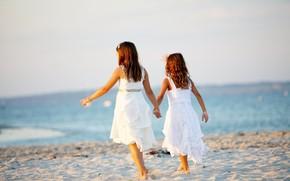 платье, дети, море, девочка, широкоформатные, фон, настроения, пляж, подруги, волна река, сестры, подружки, лето, широкоэкранные, песок, девочки, обои, полноэкранные