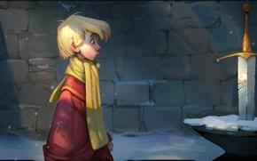 Cartone animato, spada nella roccia, Art, ragazzo, spada