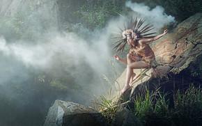 ragazza, nebbia, pietre, giungla, posa, natura, piumaggio
