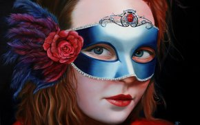 flower, view, mask, plumage, painted girl